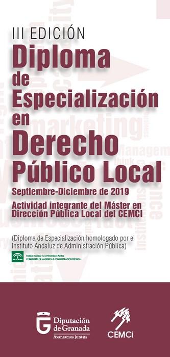 Máster en Dirección Pública Local 2019: Diploma de especialización en derecho público local (III edición).