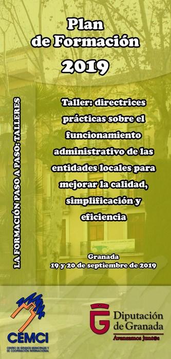 Taller: Directrices prácticas sobre el funcionamiento administrativo de las entidades locales para mejorar la calidad, simplificación y eficiencia.
